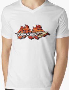 TEKKEN 7 LOGO WHITE Mens V-Neck T-Shirt