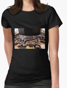 Coffee beans and coffee maker  Womens Fitted T-Shirt