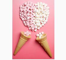 Marshmallows heart and ice-cream cones Men's Baseball ¾ T-Shirt