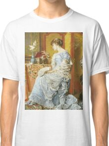 Agapit Stevens - Indecision. Woman portrait: sensual woman, femine, memories, memory, dream, doubt, sorrow, jewelry, gifts, beautiful dress, tenderness Classic T-Shirt