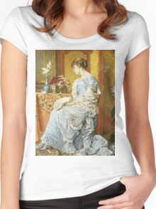 Agapit Stevens - Indecision. Woman portrait: sensual woman, femine, memories, memory, dream, doubt, sorrow, jewelry, gifts, beautiful dress, tenderness Women's Fitted Scoop T-Shirt