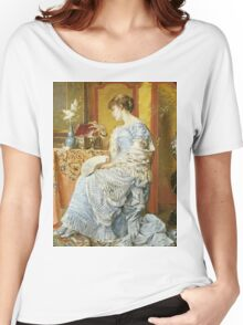 Agapit Stevens - Indecision. Woman portrait: sensual woman, femine, memories, memory, dream, doubt, sorrow, jewelry, gifts, beautiful dress, tenderness Women's Relaxed Fit T-Shirt
