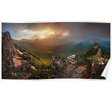 Sunset in Carapthian Mountains. Ukraine Poster