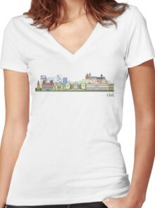 Oslo skyline colored Women's Fitted V-Neck T-Shirt