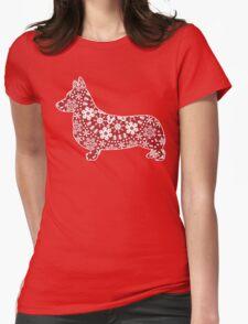 Corgi Christmas Snowflakes Womens Fitted T-Shirt