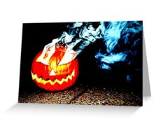Smoke Bomb Pumpkin - White Greeting Card