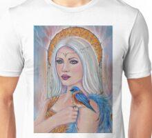 Spirit wordl fantasy portrait with bluebird by Renee Lavoie Unisex T-Shirt