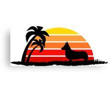 Corgi on Sunset Beach Canvas Print