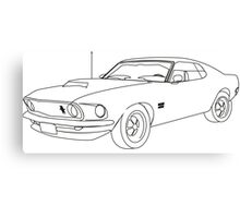 Black & White Mustang  Canvas Print