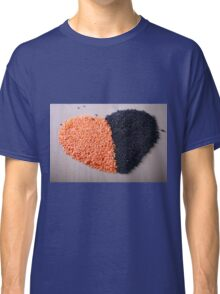 Red and black lentils forming a valentine heart shape for healthy living  Classic T-Shirt