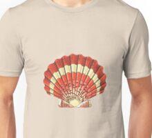 Red and White Ocean Sea Shell Dictionary Book Page Art Unisex T-Shirt