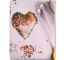 Red white, and black lentils forming a valentine heart shape for healthy living  iPad Case/Skin