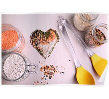 Red white, and black lentils forming a valentine heart shape for healthy living  Poster