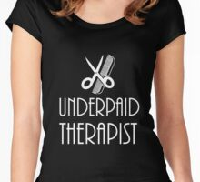 Underpaid Therapist - Hairdresser T-Shirt Design Women's Fitted Scoop T-Shirt