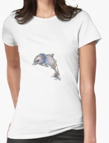 Floral Dolphin Womens Fitted T-Shirt