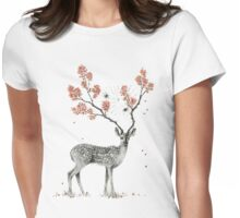 Deer and flowers Womens Fitted T-Shirt