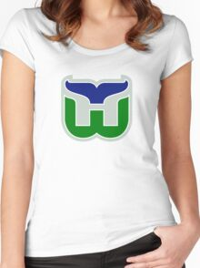 HARTFORD WHALERS HOCKEY RETRO Women's Fitted Scoop T-Shirt