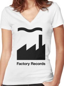 Records Logo Women's Fitted V-Neck T-Shirt