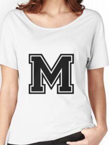 """Letter """"M""""  - Varsity / Collegiate Font - Black Print Women's Relaxed Fit T-Shirt"""