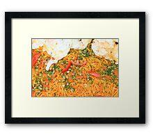 Noodles Vegetables and Fried Eggs Framed Print