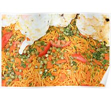 Noodles Vegetables and Fried Eggs Poster