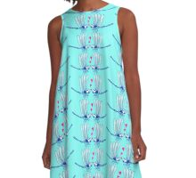 Couple of beautiful blue dragonflies tenderly falling in love A-Line Dress