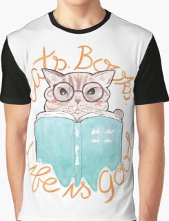 Cats. Books. Life is Good |  Blue Tabby Reading a Book Graphic T-Shirt