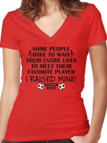 Soccer Mom - I raised my favorite player (Boy - Black print) Women's Fitted V-Neck T-Shirt