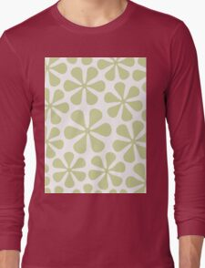 Abstract Flowers Lime Color on White Long Sleeve T-Shirt