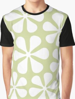 Abstract Flowers White on Lime Color Graphic T-Shirt