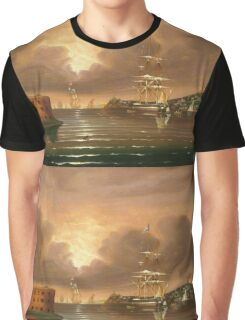 Thomas Chambers - Threatening Sky, Bay Of New York. Sea landscape: sea view,  yachts,  holiday, sailing boat, coast seaside, waves and beach, marine, seascape, sun clouds, nautical, ocean Graphic T-Shirt