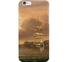 Thomas Chambers - Threatening Sky, Bay Of New York. Sea landscape: sea view,  yachts,  holiday, sailing boat, coast seaside, waves and beach, marine, seascape, sun clouds, nautical, ocean iPhone Case/Skin