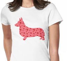 Valentine Hearts Corgi Womens Fitted T-Shirt