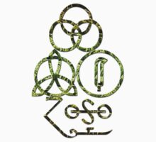 LED ZEPPELIN BAND SYMBOLS (LT GREEN SWAMP) by Endlessgrief