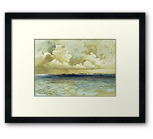 Thomas Moran - Bahama Island Light. Sea landscape: sea view,  yachts,  holiday, sailing boat, coast seaside, waves and beach, marine, seascape, sun clouds, nautical, ocean Framed Print