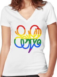 Pride = LOVE Women's Fitted V-Neck T-Shirt