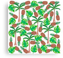 Pineapple Palm Trees and Tropical Summer Leaves Canvas Print