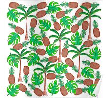 Pineapple Palm Trees and Tropical Summer Leaves Poster
