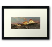 Thomas Moran - Green River Cliffs, Wyoming. Mountains landscape: mountains, rocks, rocky nature, sky and clouds, trees, peak, forest, Canyon, hill, travel, hillside Framed Print