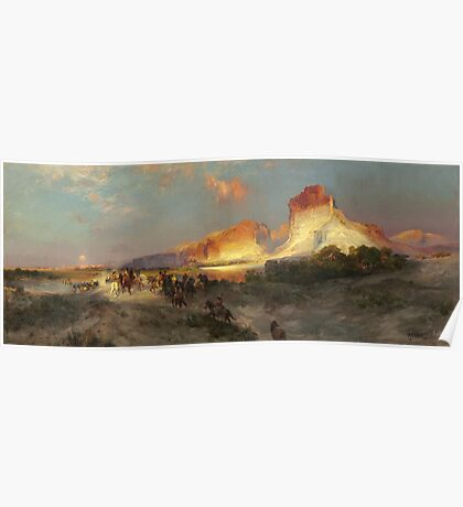 Thomas Moran - Green River Cliffs, Wyoming. Mountains landscape: mountains, rocks, rocky nature, sky and clouds, trees, peak, forest, Canyon, hill, travel, hillside Poster