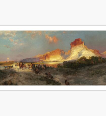 Thomas Moran - Green River Cliffs, Wyoming. Mountains landscape: mountains, rocks, rocky nature, sky and clouds, trees, peak, forest, Canyon, hill, travel, hillside Sticker