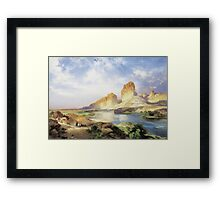 Thomas Moran - Green River, Wyoming. Mountains landscape: mountains, rocks, rocky nature, sky and clouds, trees, peak, forest, Canyon, hill, travel, hillside Framed Print