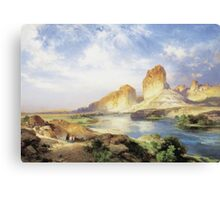 Thomas Moran - Green River, Wyoming. Mountains landscape: mountains, rocks, rocky nature, sky and clouds, trees, peak, forest, Canyon, hill, travel, hillside Canvas Print