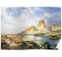 Thomas Moran - Green River, Wyoming. Mountains landscape: mountains, rocks, rocky nature, sky and clouds, trees, peak, forest, Canyon, hill, travel, hillside Poster