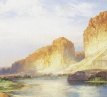Thomas Moran - Green River, Wyoming. Mountains landscape: mountains, rocks, rocky nature, sky and clouds, trees, peak, forest, Canyon, hill, travel, hillside Sticker