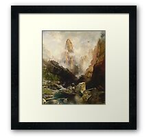 Thomas Moran - Mist In Kanab Canyon, Utah . Mountains landscape: mountains, rocks, rocky nature, sky and clouds, trees, peak, forest, Canyon, hill, travel, hillside Framed Print