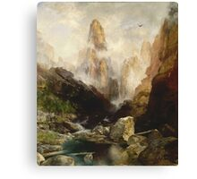Thomas Moran - Mist In Kanab Canyon, Utah . Mountains landscape: mountains, rocks, rocky nature, sky and clouds, trees, peak, forest, Canyon, hill, travel, hillside Canvas Print