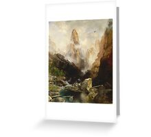 Thomas Moran - Mist In Kanab Canyon, Utah . Mountains landscape: mountains, rocks, rocky nature, sky and clouds, trees, peak, forest, Canyon, hill, travel, hillside Greeting Card