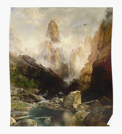 Thomas Moran - Mist In Kanab Canyon, Utah . Mountains landscape: mountains, rocks, rocky nature, sky and clouds, trees, peak, forest, Canyon, hill, travel, hillside Poster