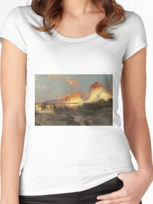 Thomas Moran - Green River Cliffs, Wyoming. Mountains landscape: mountains, rocks, rocky nature, sky and clouds, trees, peak, forest, Canyon, hill, travel, hillside Women's Fitted Scoop T-Shirt